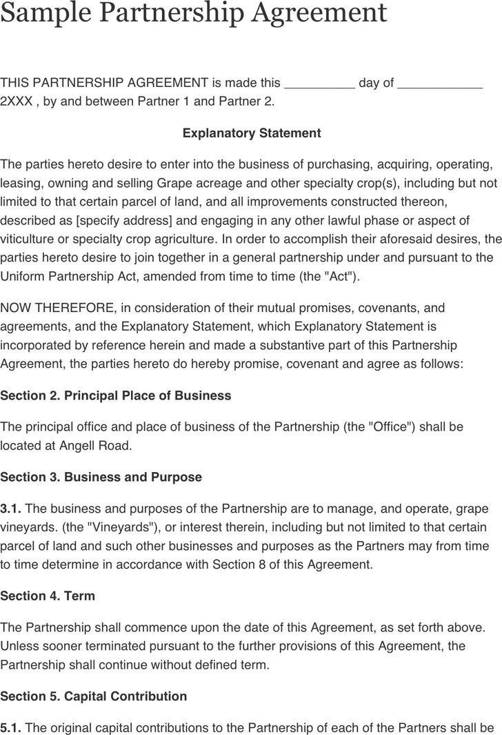 Sample Business Partnership Agreement Free Arkansas Partnership - partnership agreement template free download