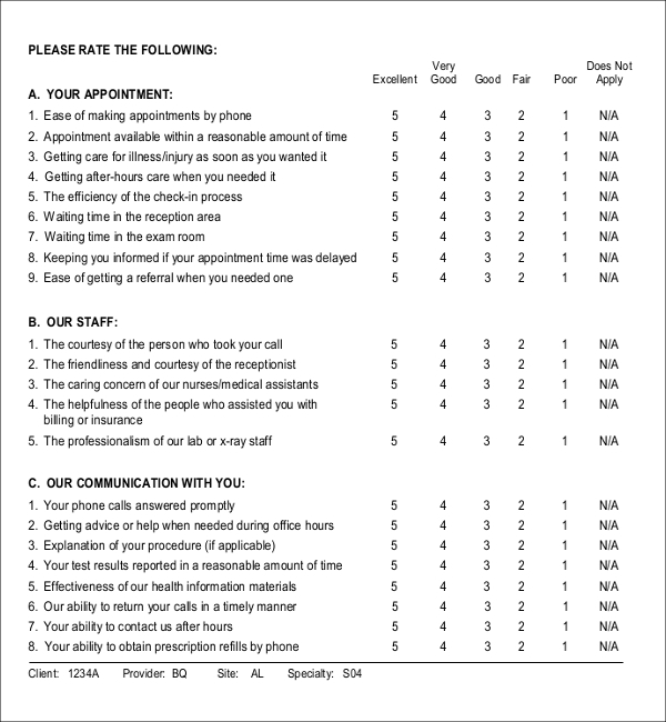 Patient Survey Templates Download Free \ Premium Templates - patient satisfaction survey template