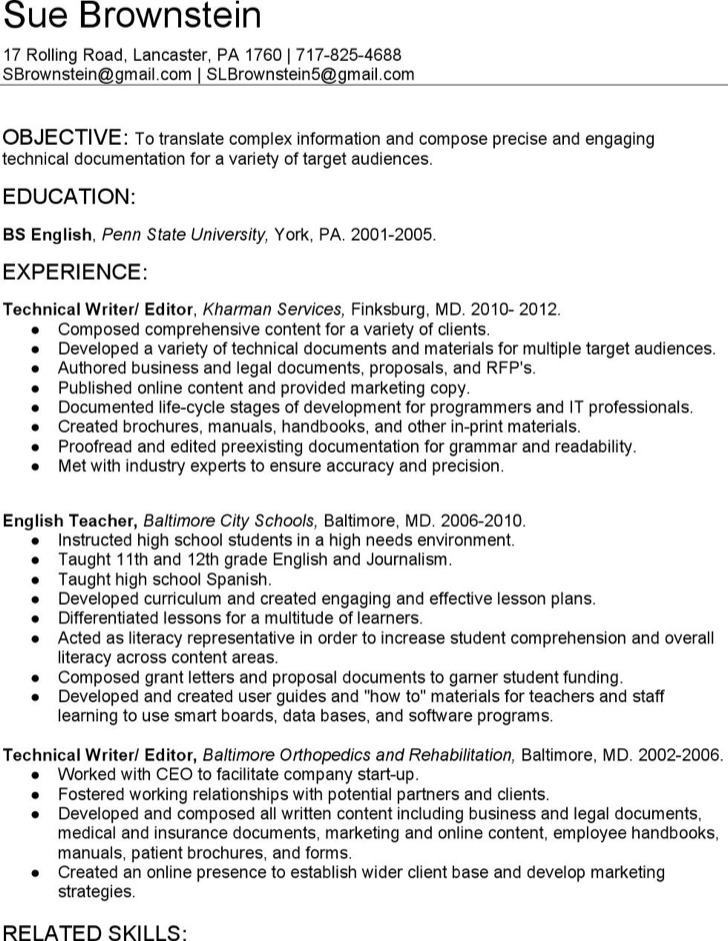 technical resume template free download