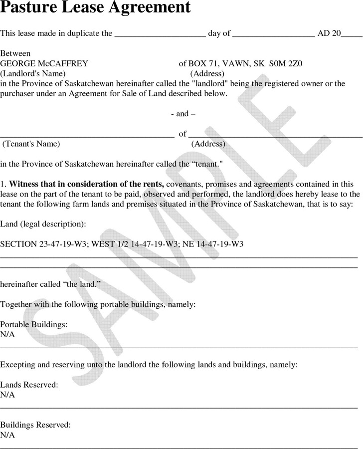 Pasture Lease Agreement Template Saskatchewan Rent And Lease - Sample Pasture Lease Agreement Template