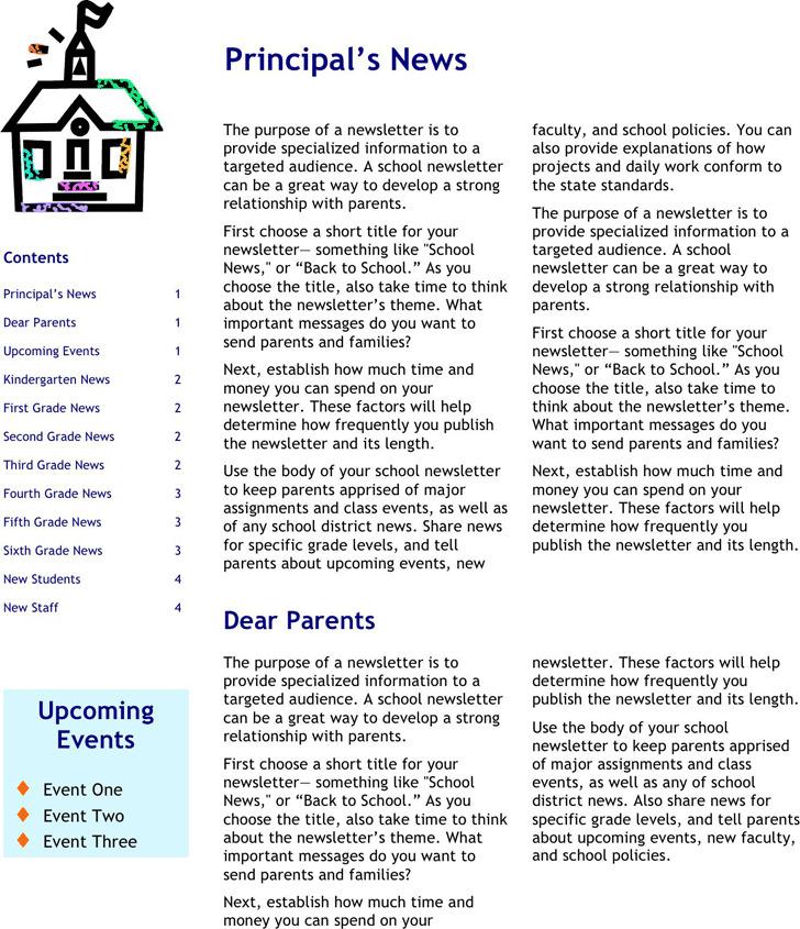 School Newsletter Template Download Free  Premium Templates