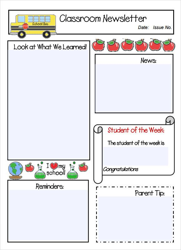 weekly newsletter template tutornowinfo - school newsletter templates