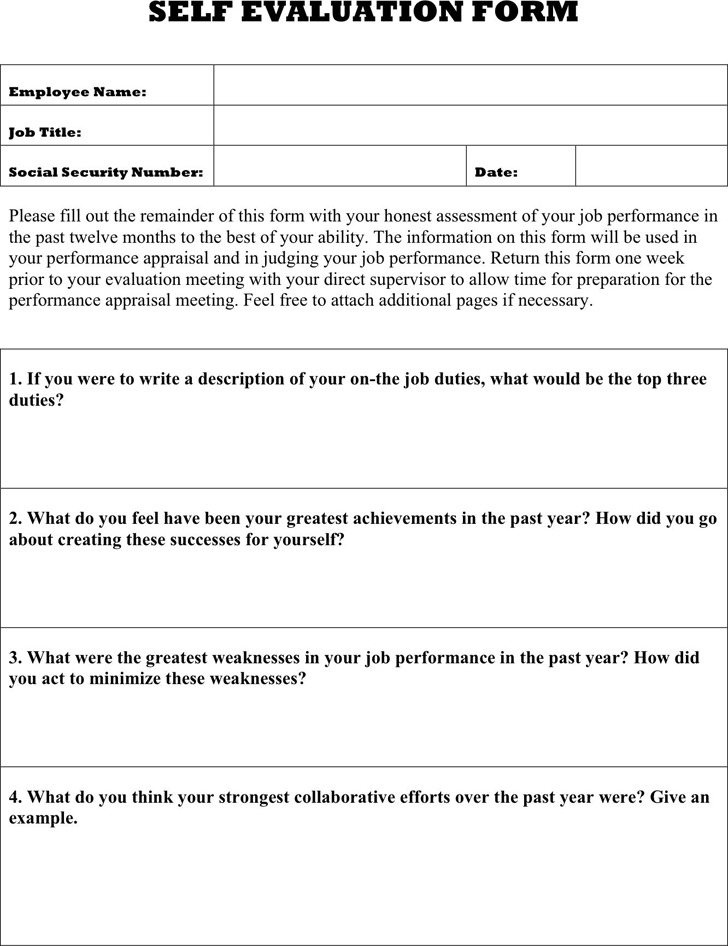 Self Review Template work evaluation template - eliolera sample - performance self evaluation form
