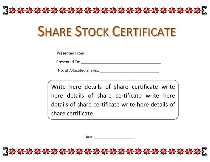 Stock Certificate Template Download Free  Premium Templates
