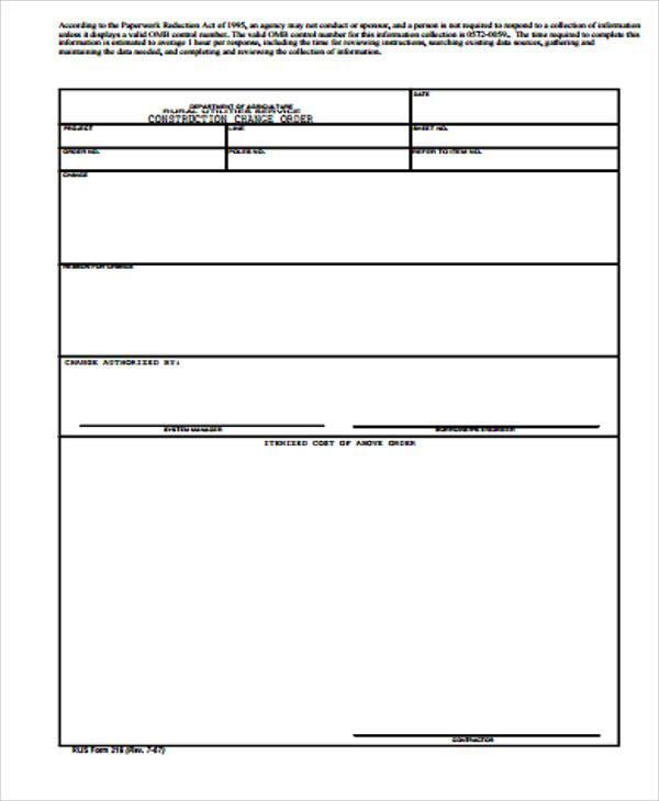 Change Order Template Download Free  Premium Templates, Forms - sample change order template