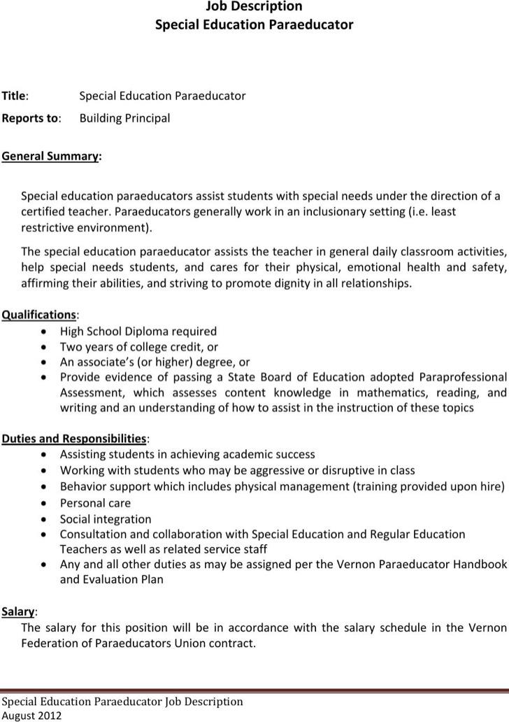 Paraeducator Resume Templates Download Free  Premium Templates