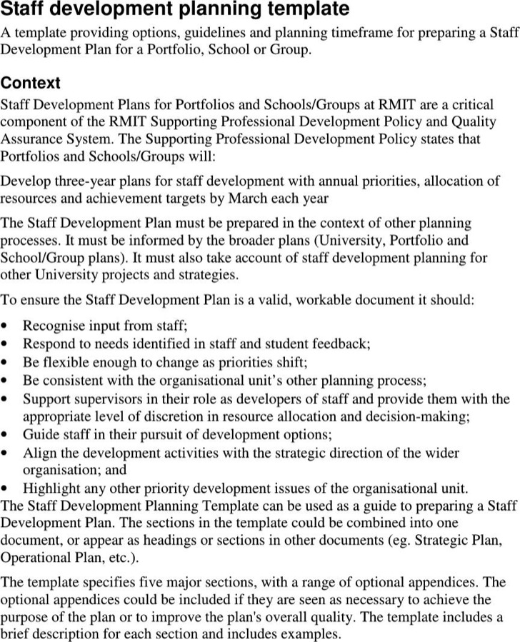 Development Plan Templates radiogomezone