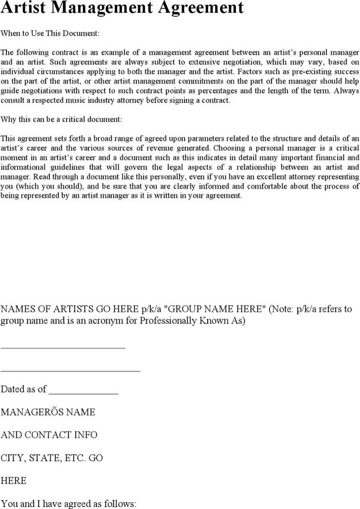 Artist Management Contract TemplatezetArtist Management Contract   Sample  Artist Statement