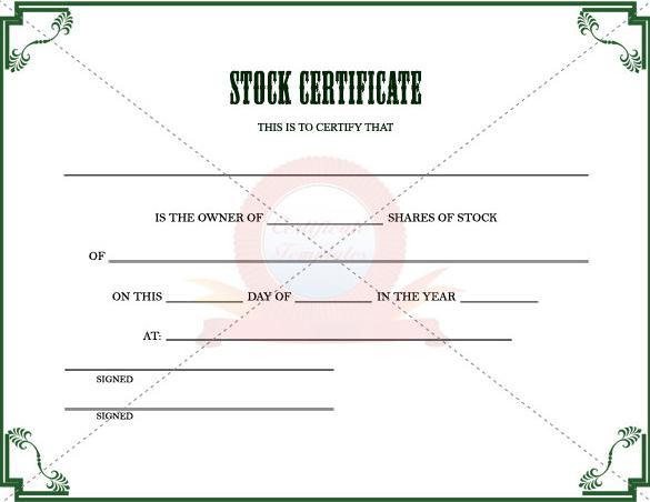 download stock certificate template