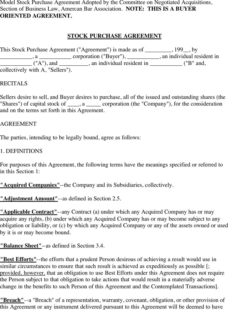 Stock Purchase Agreement Download Free  Premium Templates, Forms - Stock Purchase Agreement