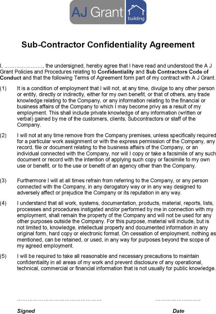 Confidentiality Agreement Template confidentiality agreement form - contractor confidentiality agreement