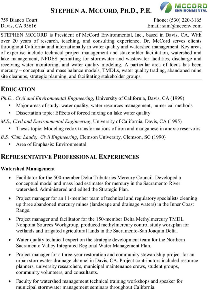 Water Resource Engineer Sample Resume | cvfree.pro