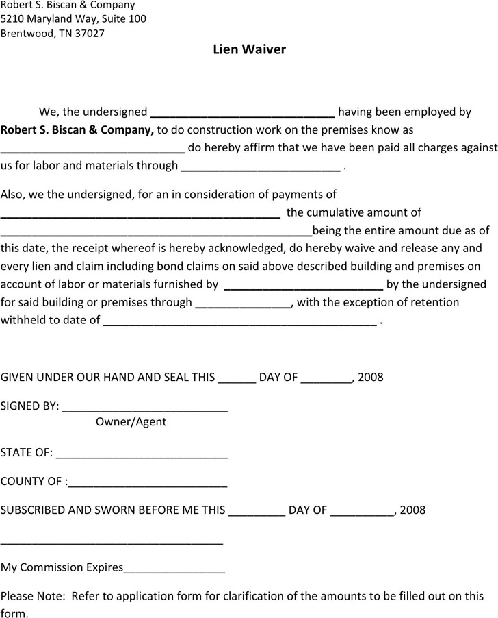 Tennessee Lien Release Form Download Free  Premium Templates