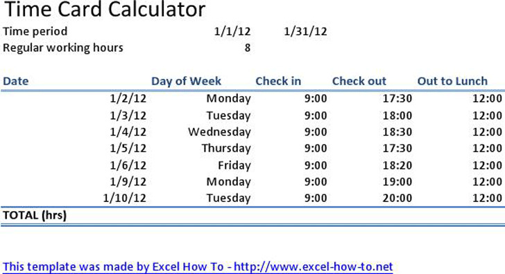 Time Card Calculator Download Free  Premium Templates, Forms