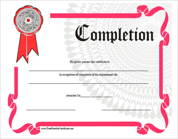 Completion Certificate Template Download Free  Premium Templates - certificate of completion of training template
