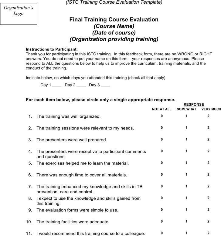 Training Evaluation Training Course Evaluation Template Training - class evaluation template