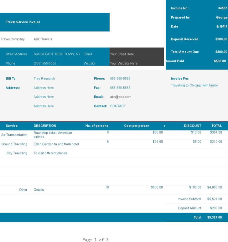 Travel Invoices Travel Invoice Template Travel Company Invoice