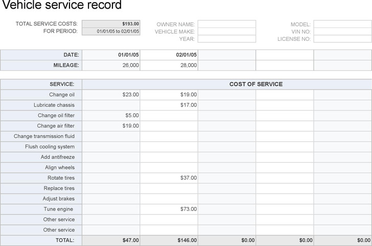 Vehicle Maintenance Log Download Free  Premium Templates, Forms - vehicle service record template