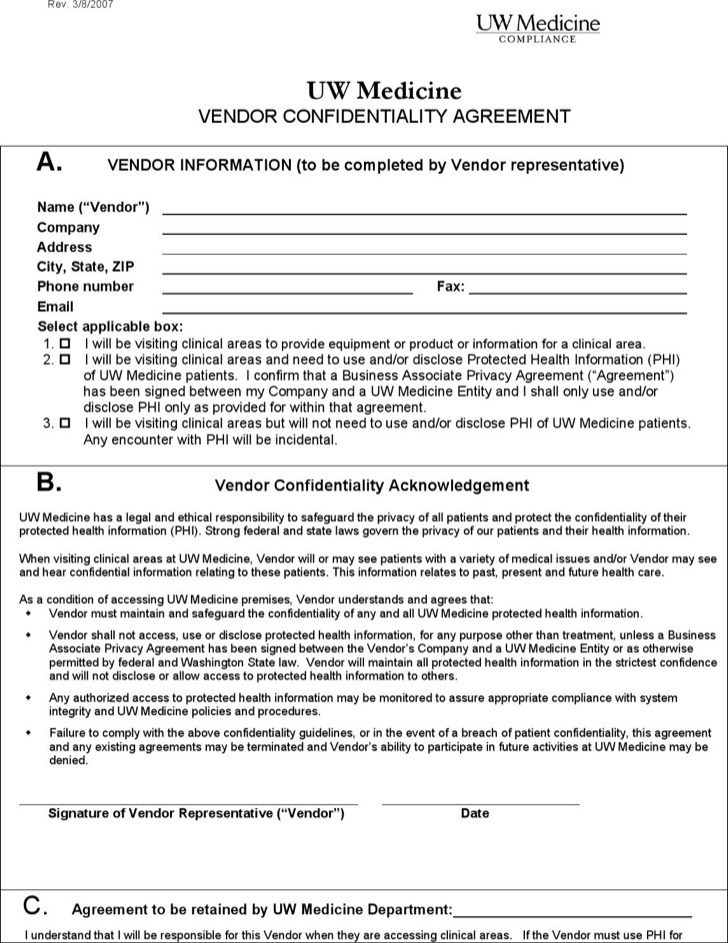 Confidentiality Agreement Templates Download Free \ Premium - vendor confidentiality agreement