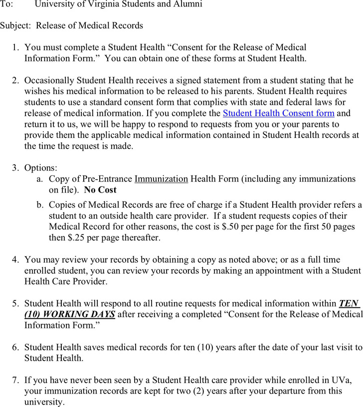 Virginia Medical Records Release Form Download Free  Premium - medical records request forms