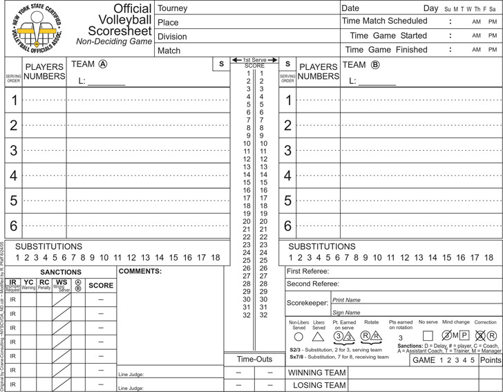 ... Volleyball Score Sheet Download Free \ Premium Templates, Forms   Sample  Cheer Leading Tryout Score ...