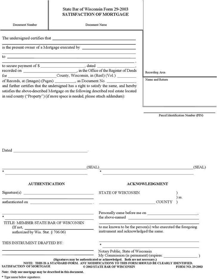 Wisconsin Satisfaction of Mortgage Form Download Free  Premium - satisfaction of mortgage form