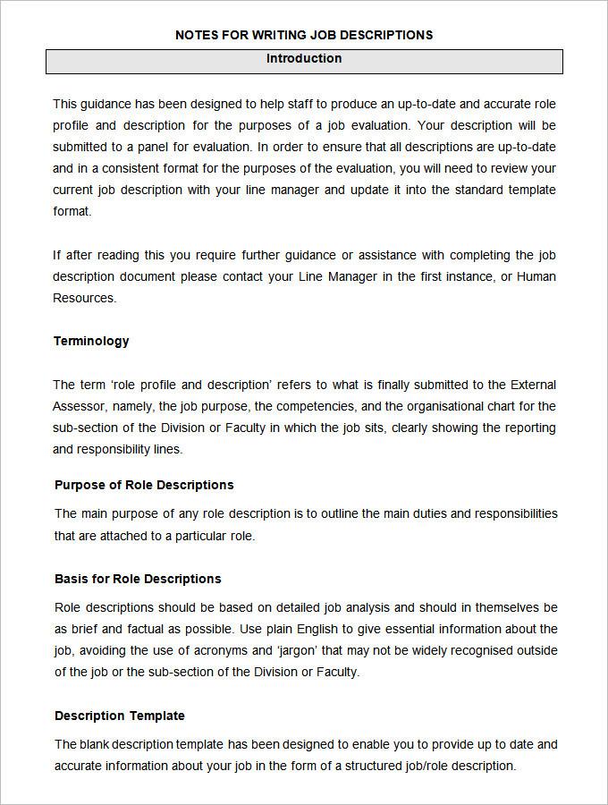 Sample HR Job Description Templates Download Free  Premium - job duty template