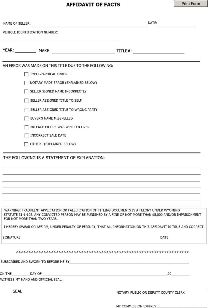 Beautiful Affidavit Of Fact Template Ideas - Resume Samples - affidavits template