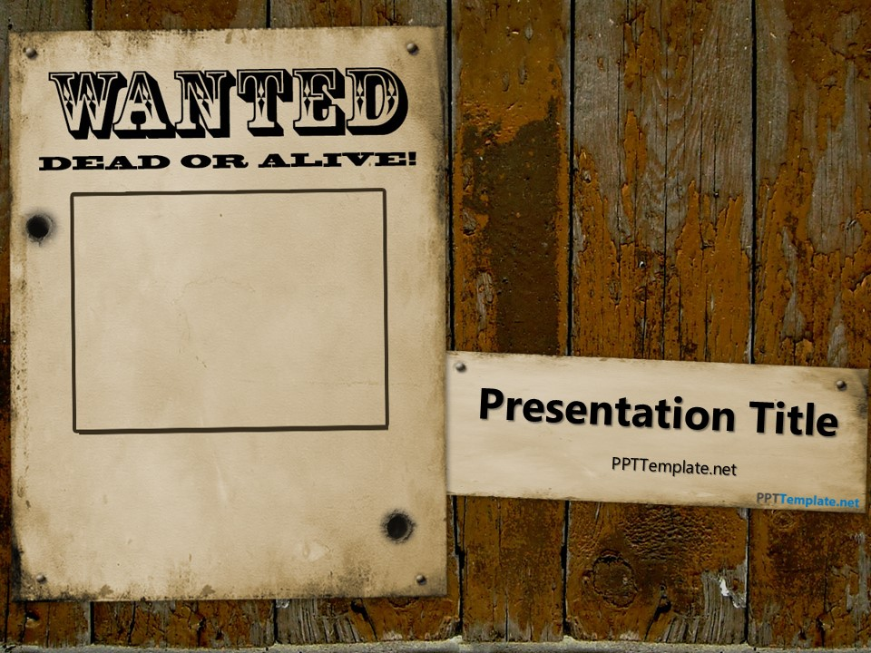 Free Western Wanted Reward PowerPoint Template - free slide backgrounds for powerpoint
