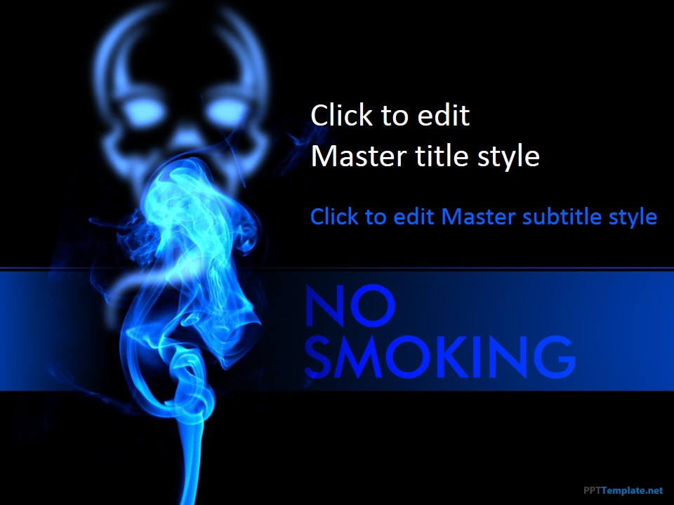 Free No Smoking PPT Template - cool blue backgrounds for powerpoint