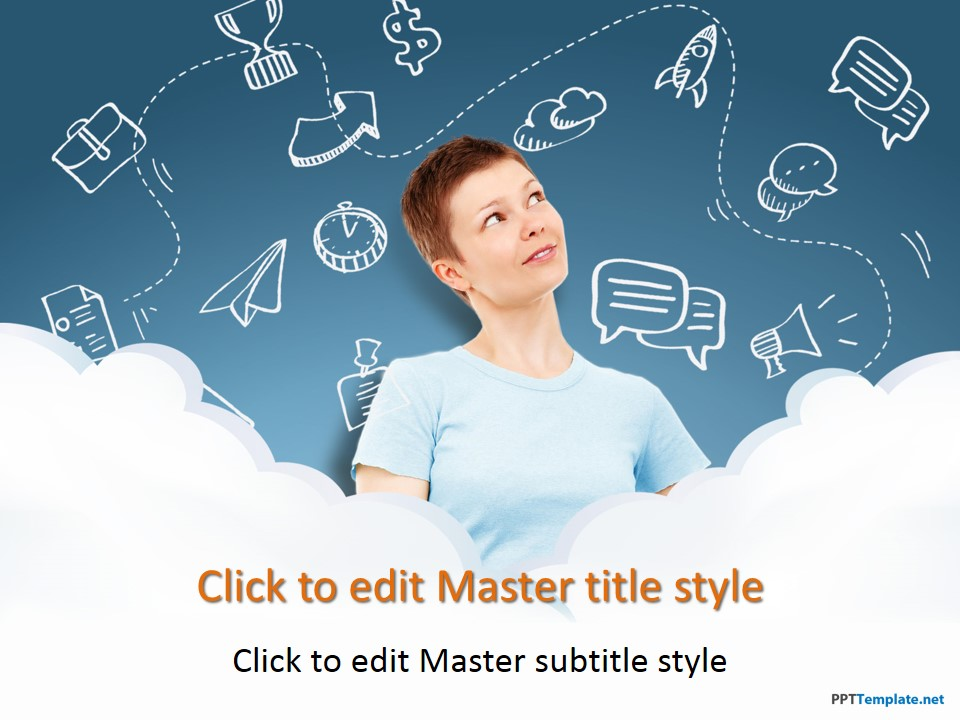 Free Hand Drawn Girl Cloud Computing PPT Template