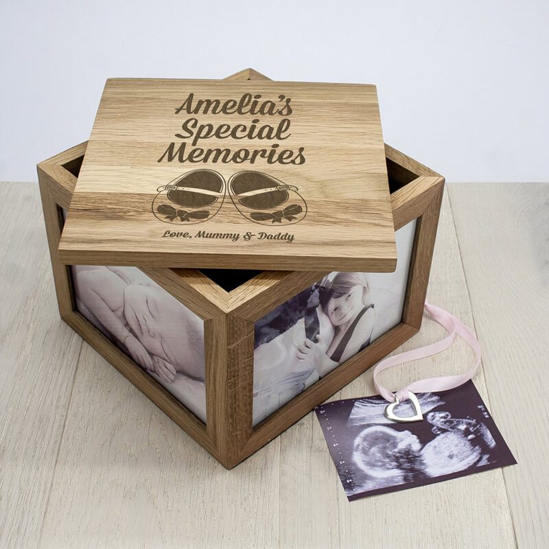 Personalised New Baby Oak Photo Keepsake Box Buy From