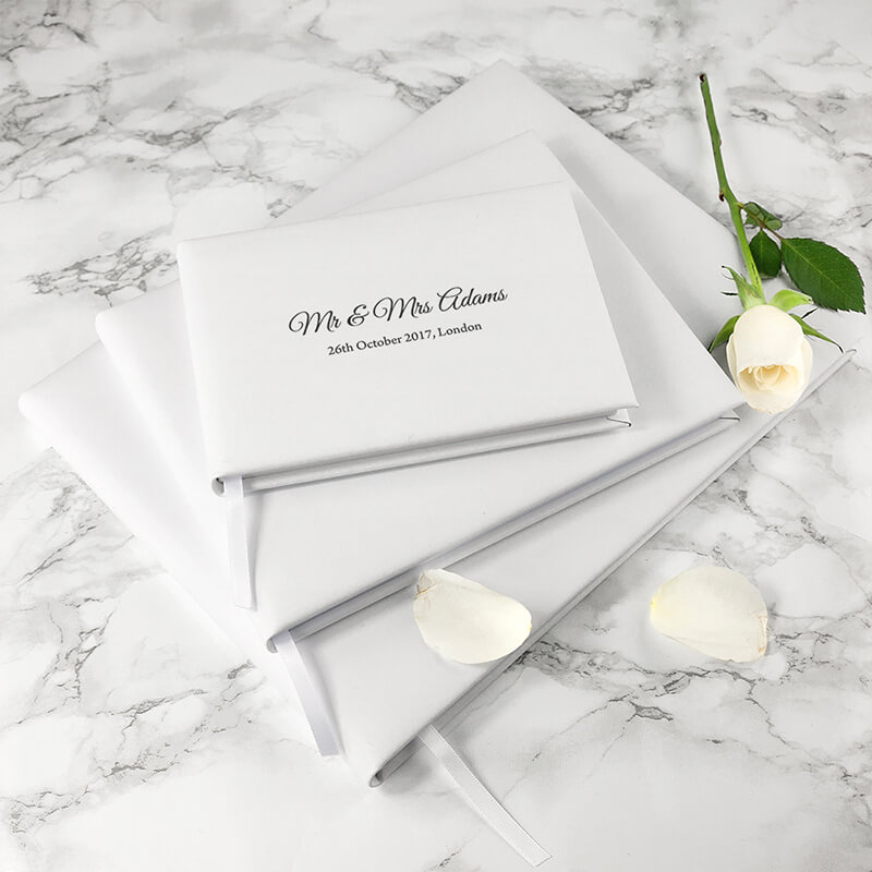 Engraved White Leather Wedding Guest Book - Buy from Prezzybox