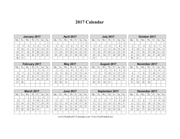 2017 Calendar Grid Large Grid