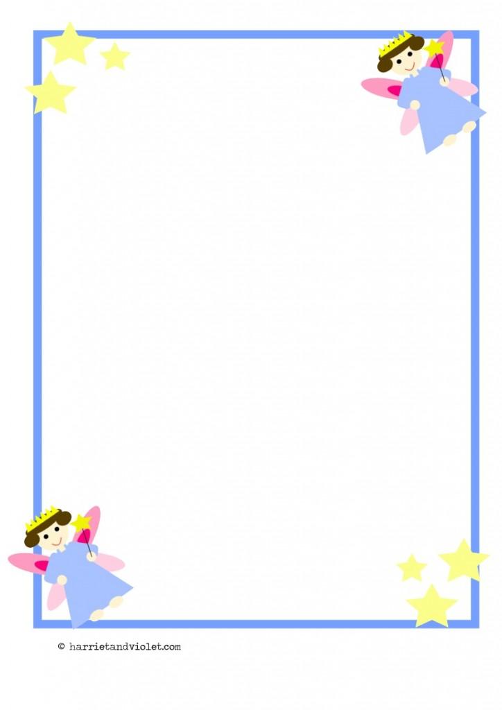 Fairy Border Paper A4 Portrait Plain Background Free Teaching