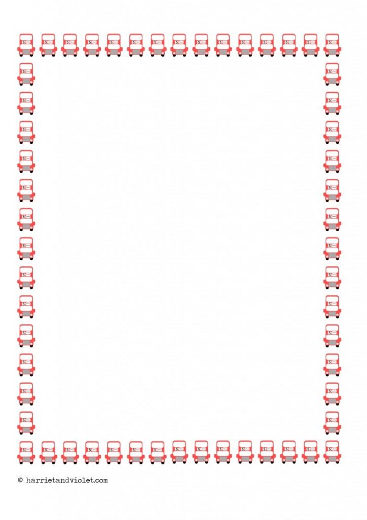 Bus Border Paper Portrait A4 Plain Half Lined and Lined - Free - lined border paper