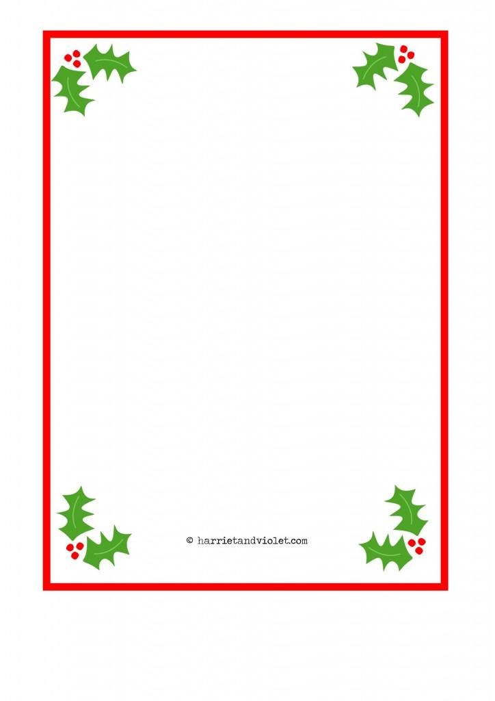 Christmas Border Paper A4 Plain Holly, Santa Hat, Fairy and Snowman