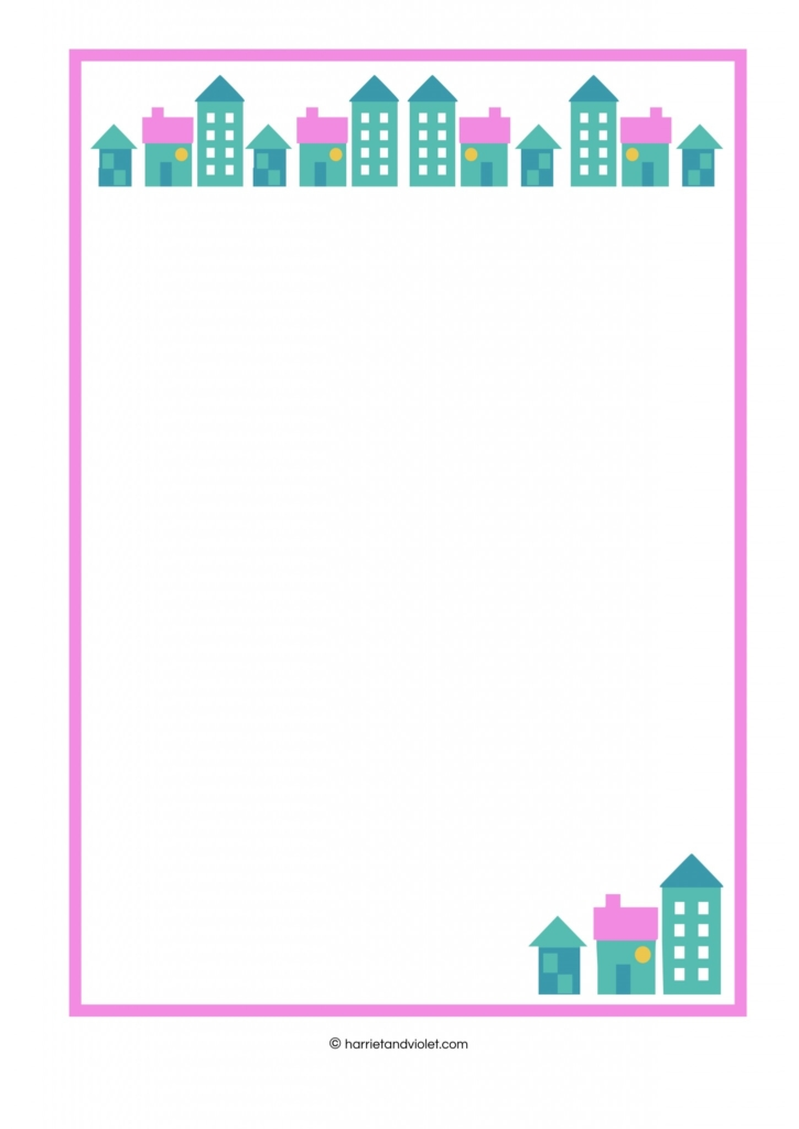 House - border paper plain, lined and half lined - Free Teaching - lined border paper