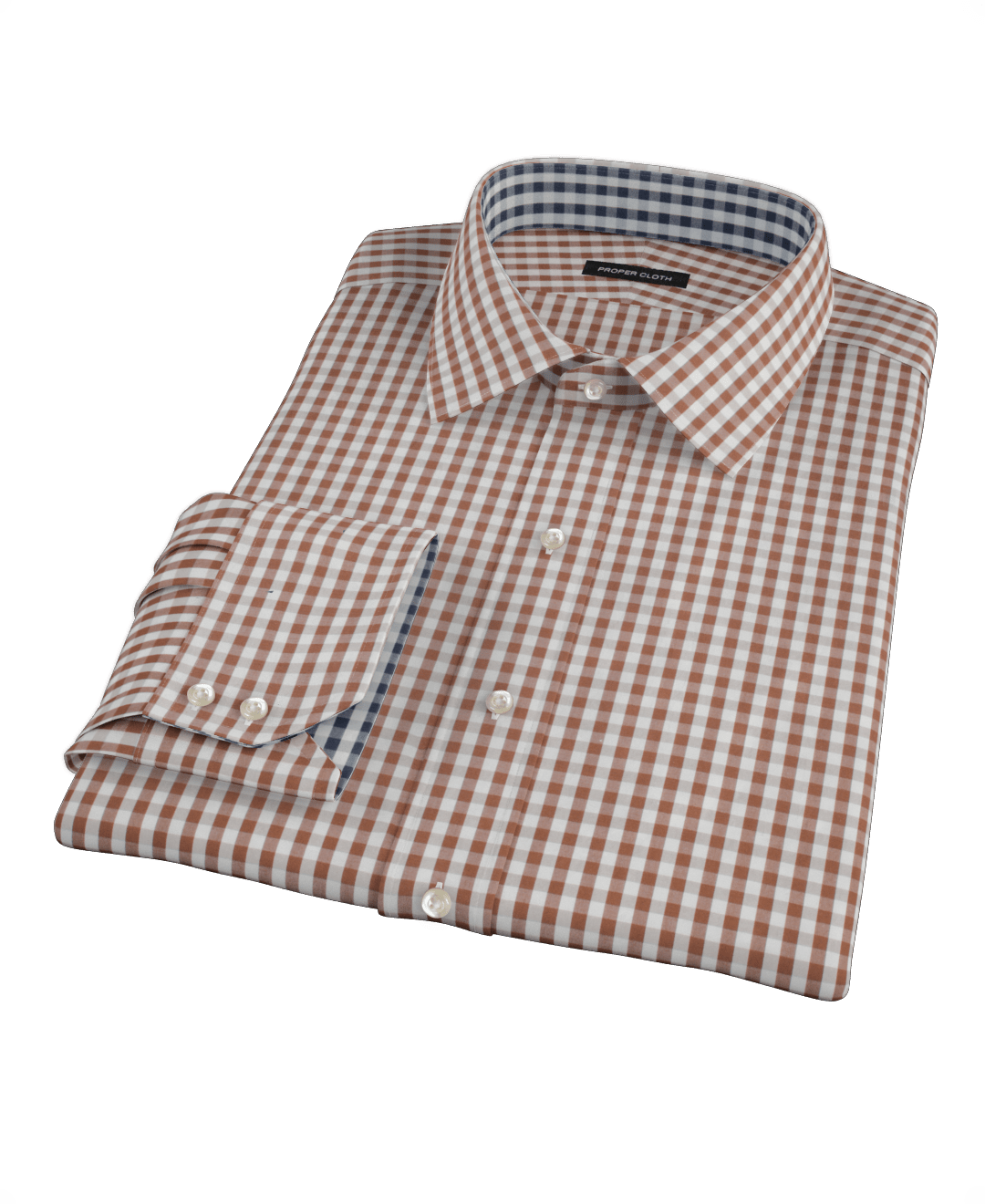 Big W Business Shirts Clove Brown Gingham Fitted Dress Shirt By Proper Cloth