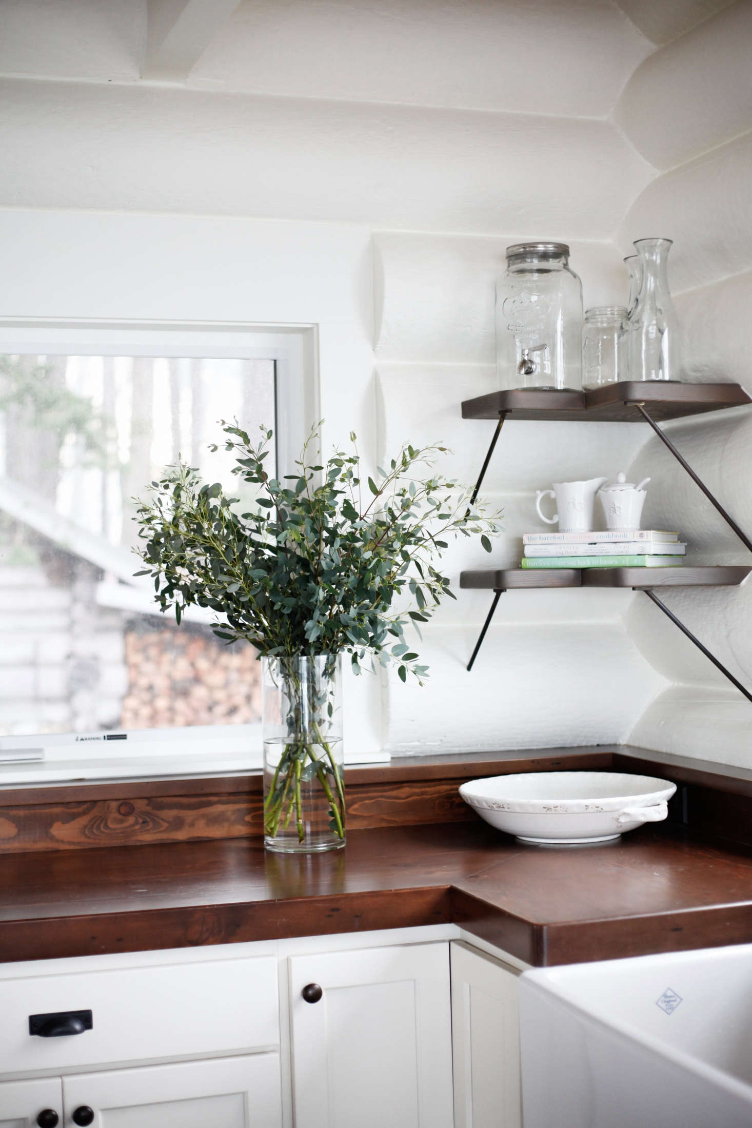 Kitchen Shelves Instead Of Cabinets Classic New Whitewashed Cabin Kitchen San Juan Islands