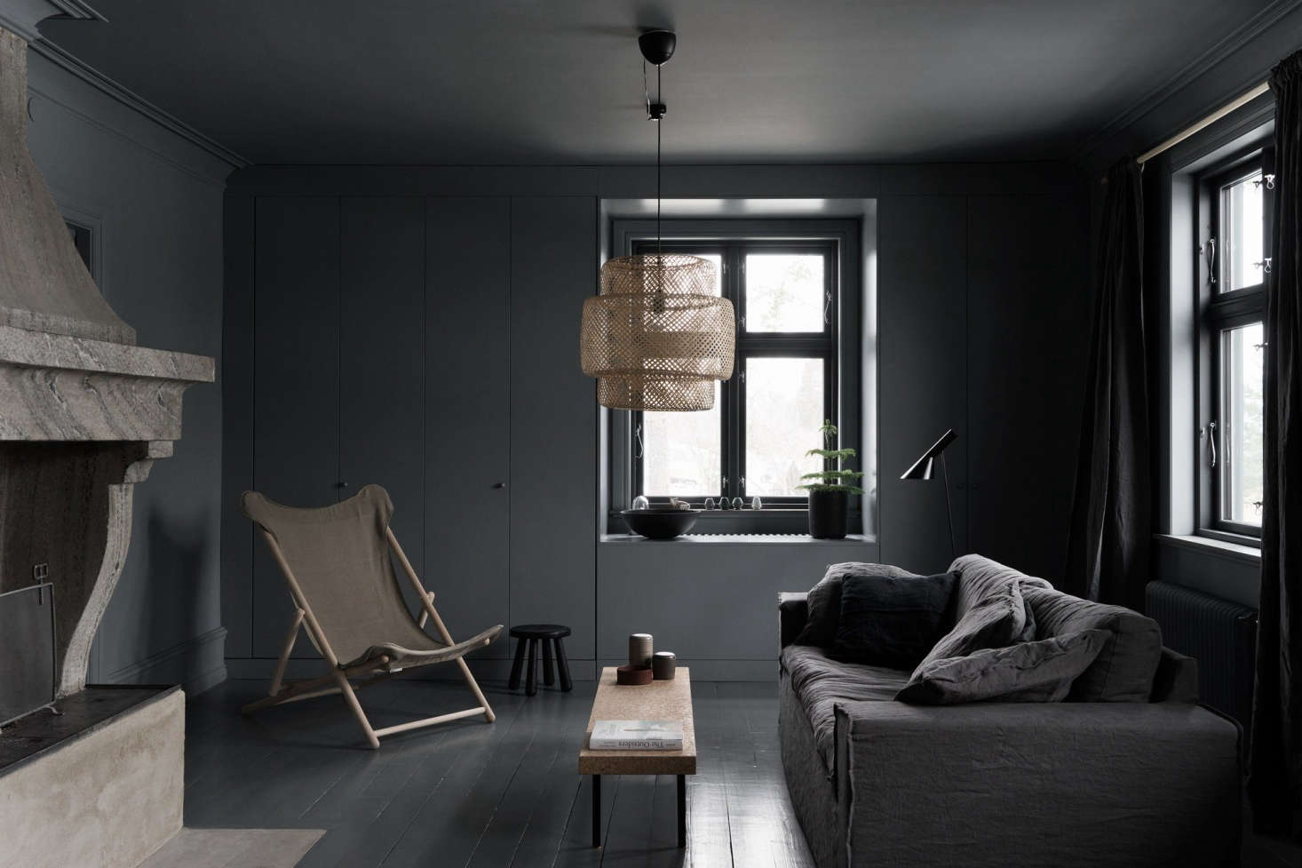 All Black Living Room Steal This Look A Noirish Living Room In Coastal Sweden