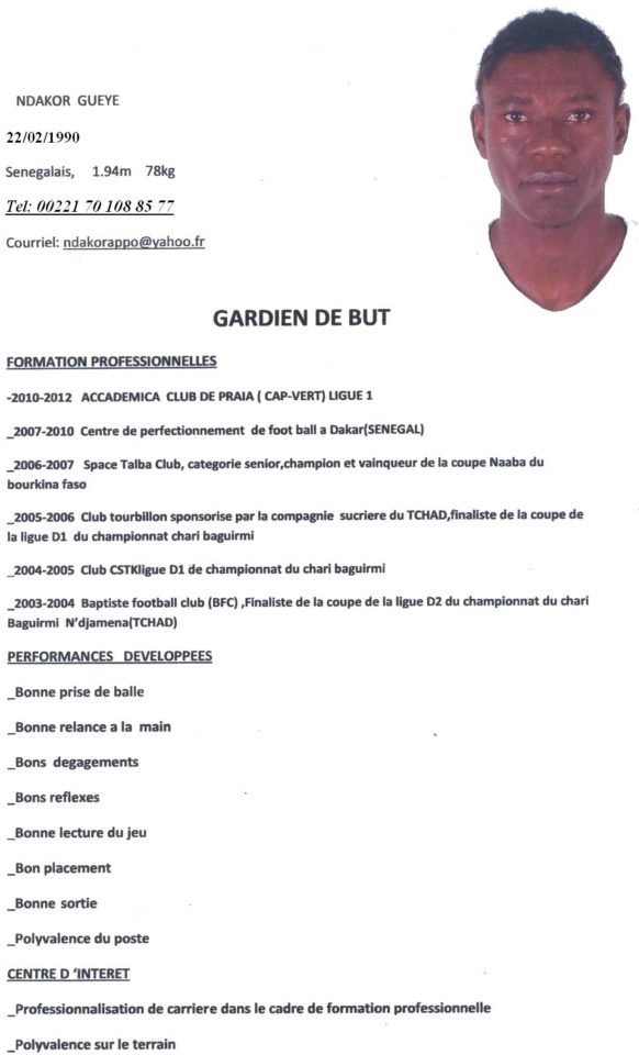 cv pour stage foot ball