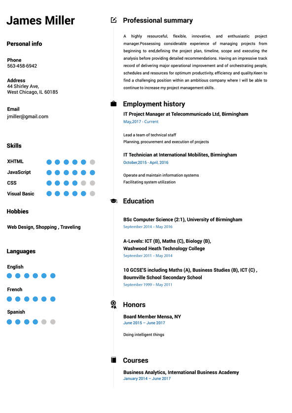 Online Resume Builder - doing a resume
