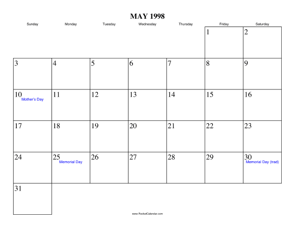 Calendar Print Online Free My Calendar Maker Design And Print Your Own Free May 1998 Calendar