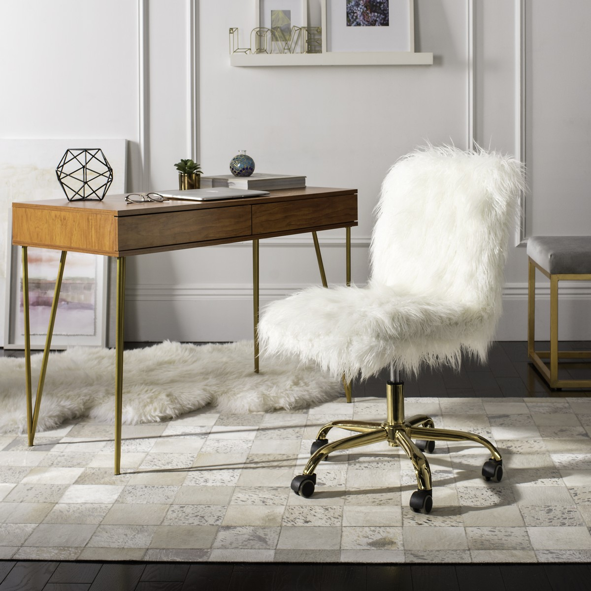 White And Gold Desk Chair Och4505b Desk Chairs Furniture By Safavieh