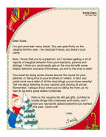 Naughty Letter From Santa Printable