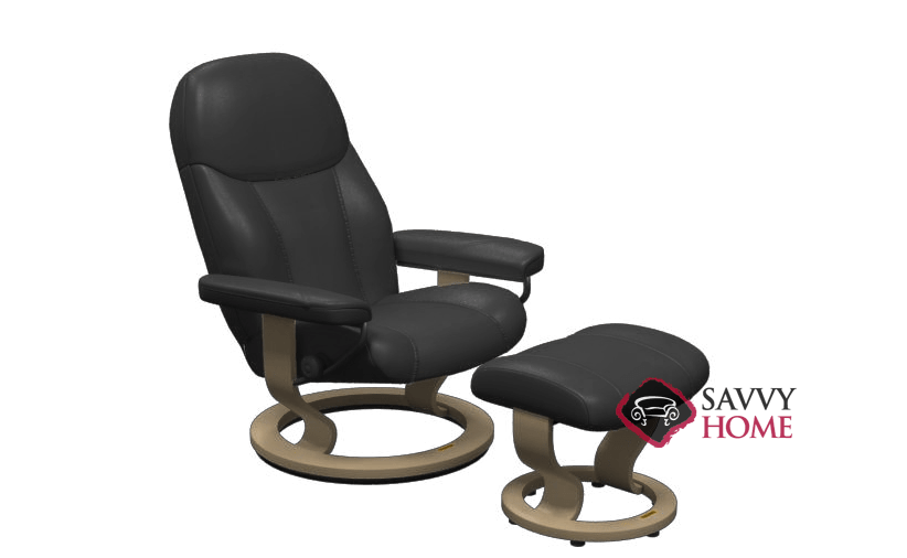 Quick Ship Consul Leather Reclining Chair In Batick Black