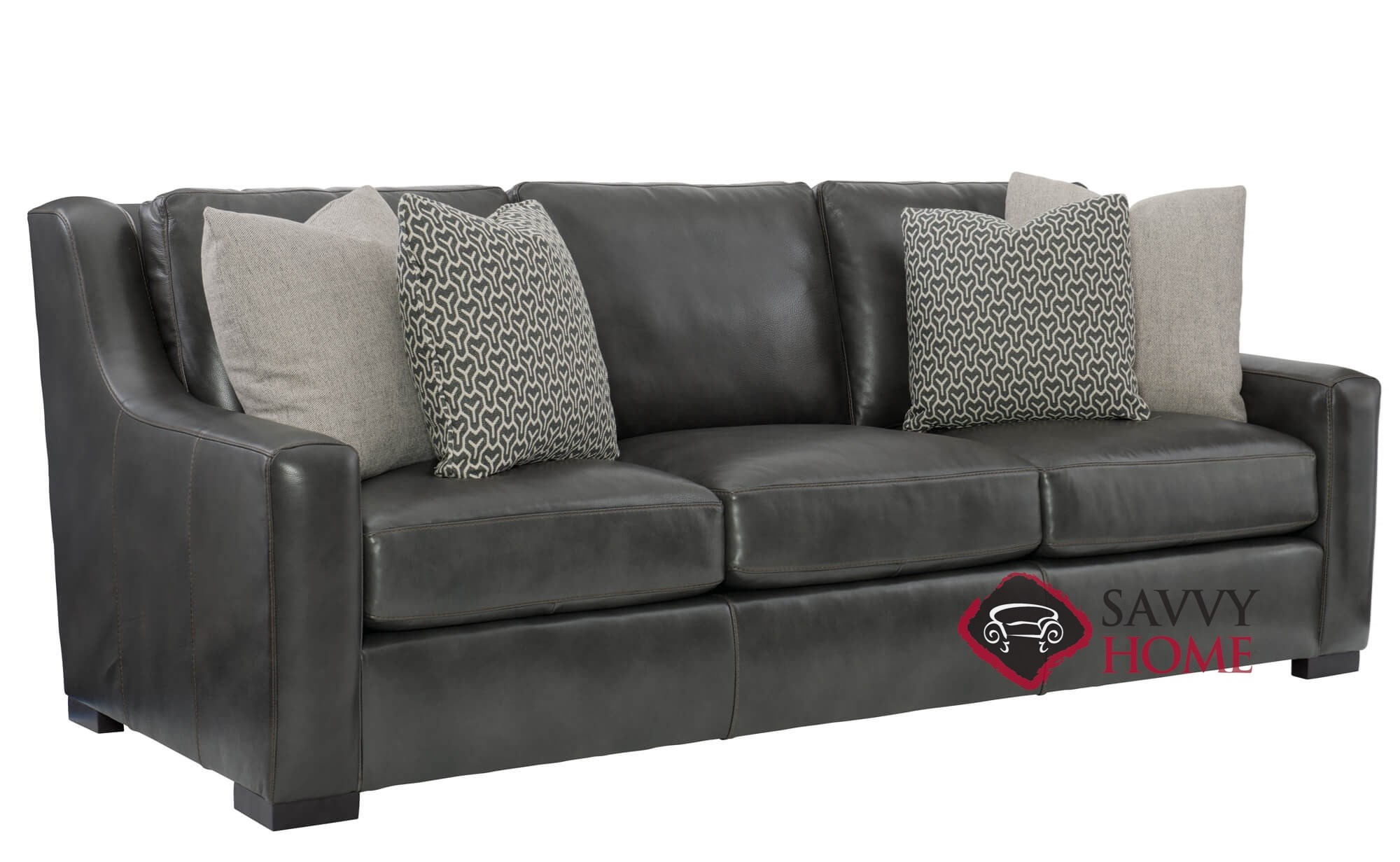Germain Leather Sofa With Down Blend Cushions By Bernhardt In 266 110