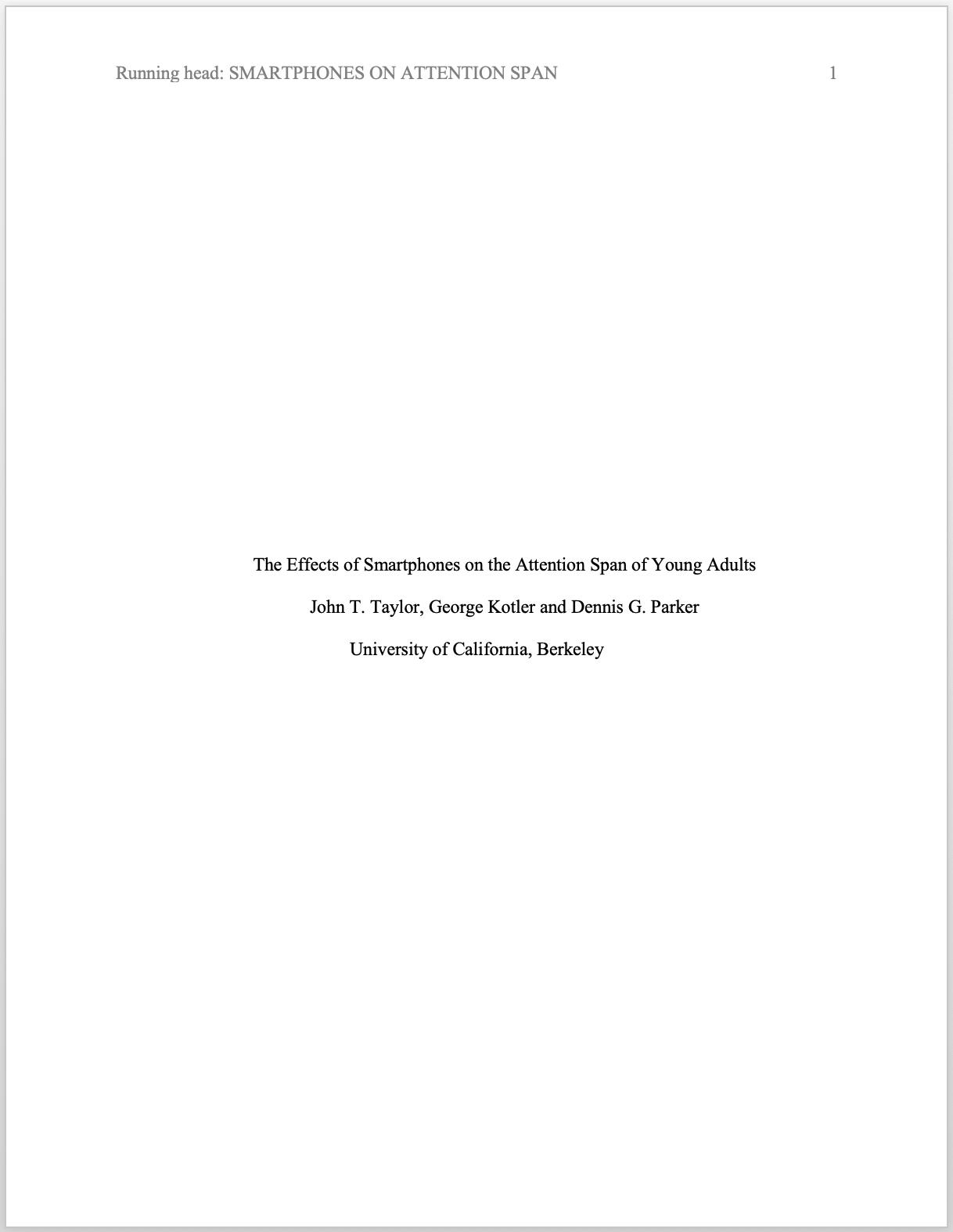 apa format title