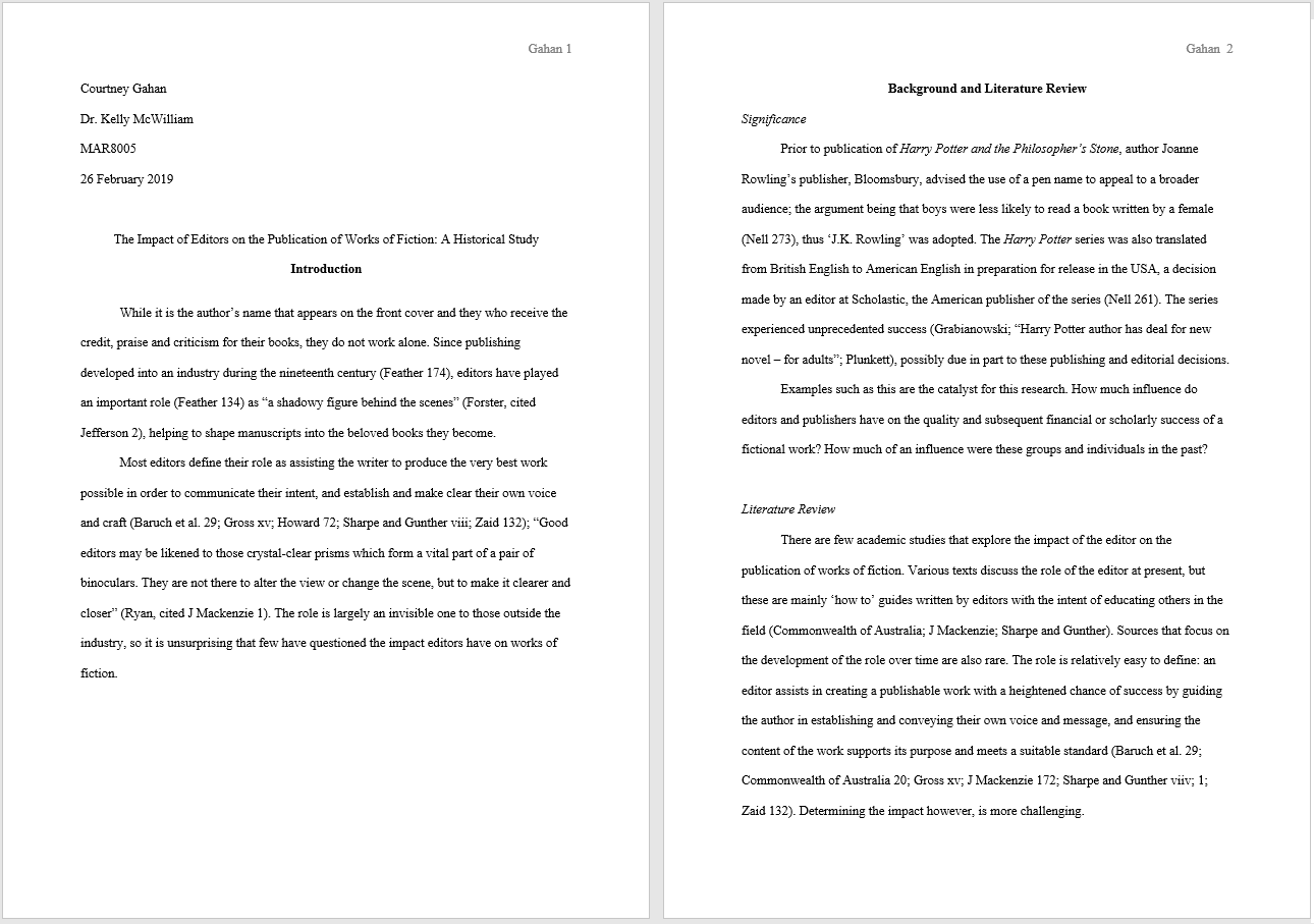 mla research paper format example